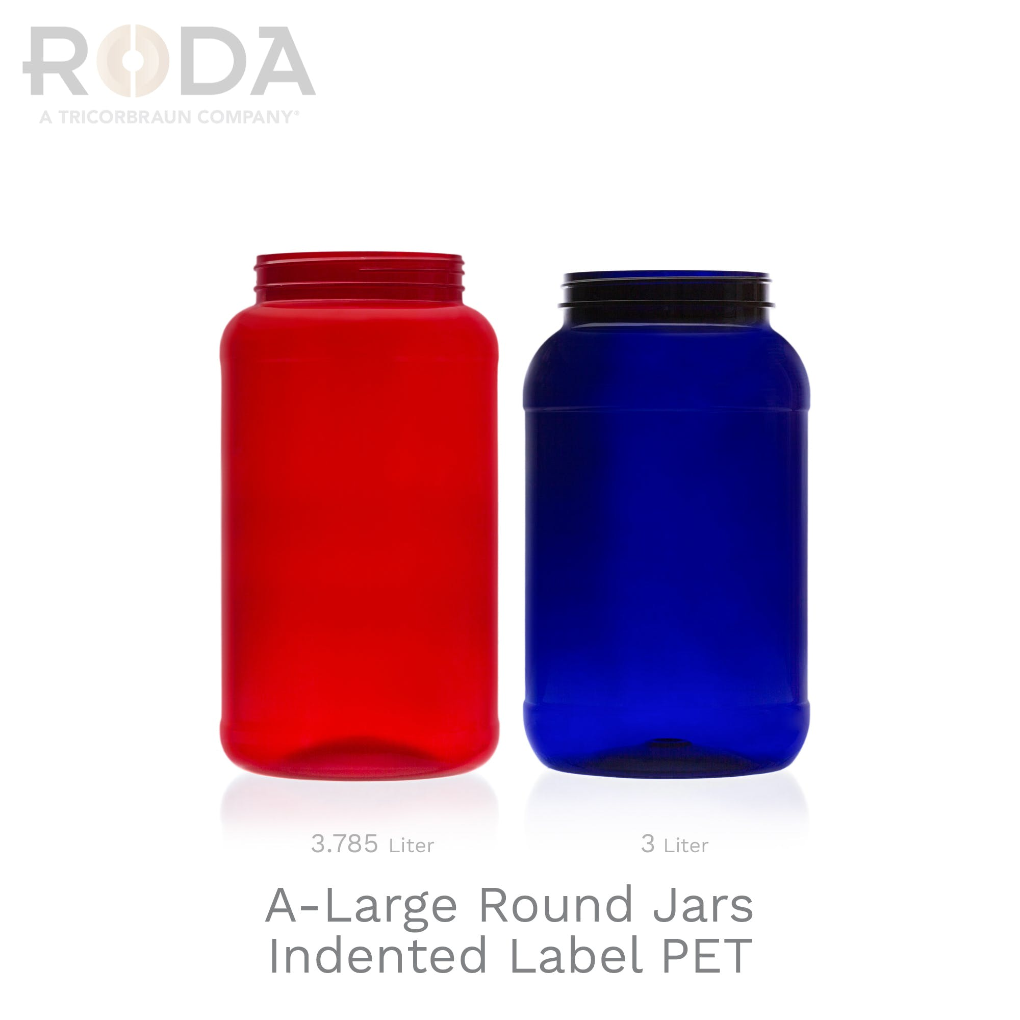 A-Large Rounds Jars Indented Label PET