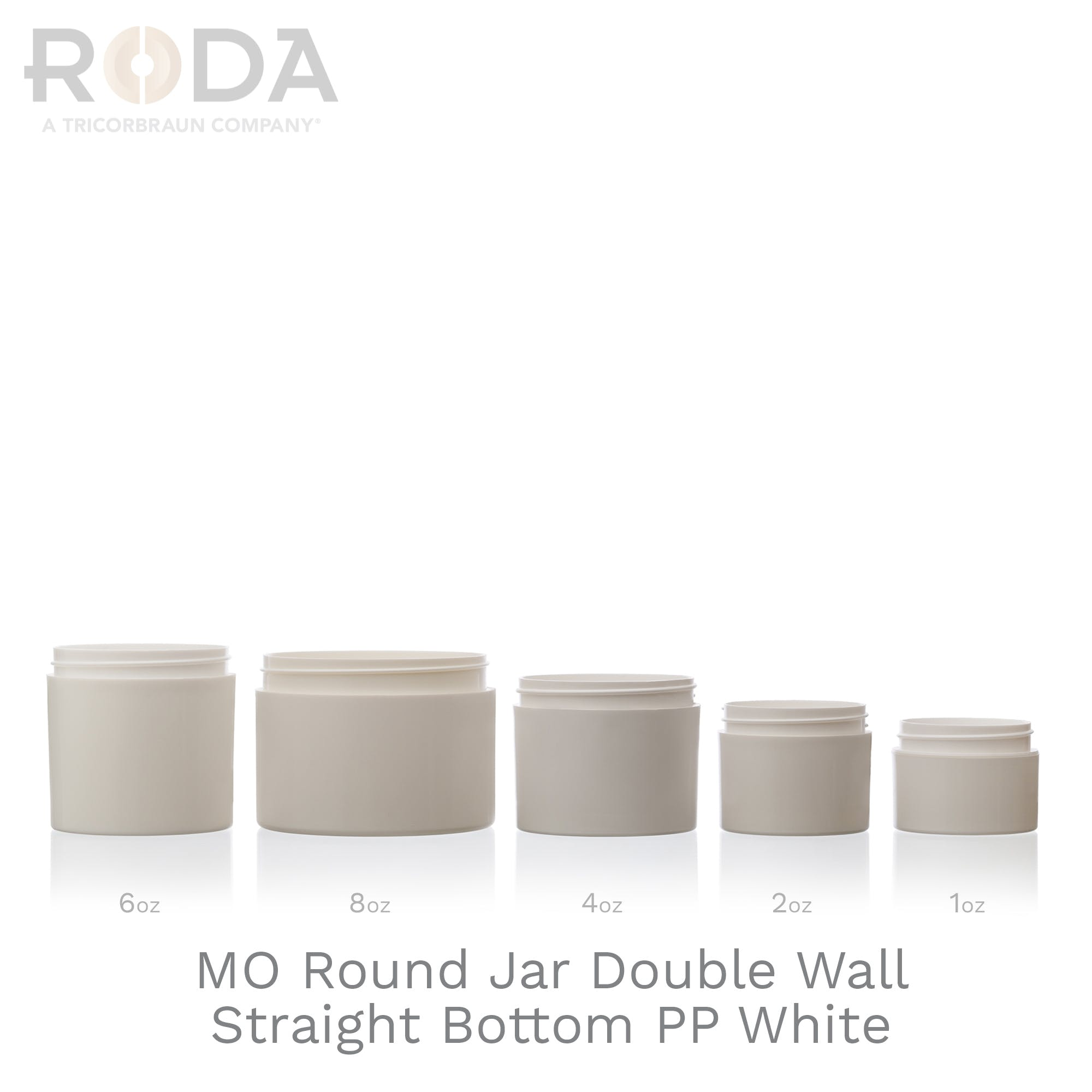 MO Round Jar Double Wall Straight Bottom PP White