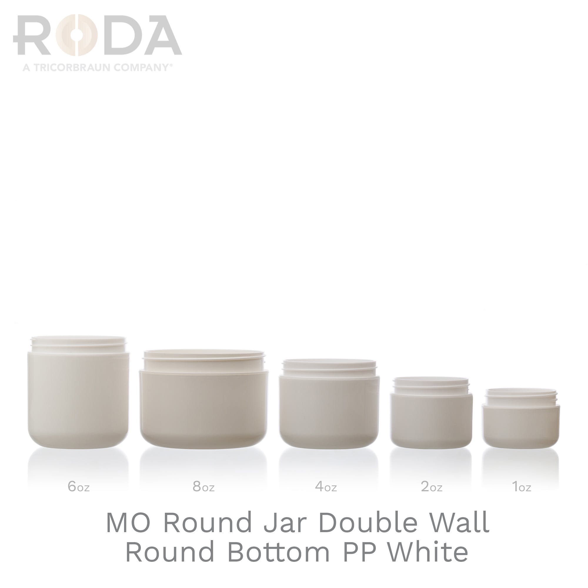 MO Round Jar Double Wall Round Bottom PP White
