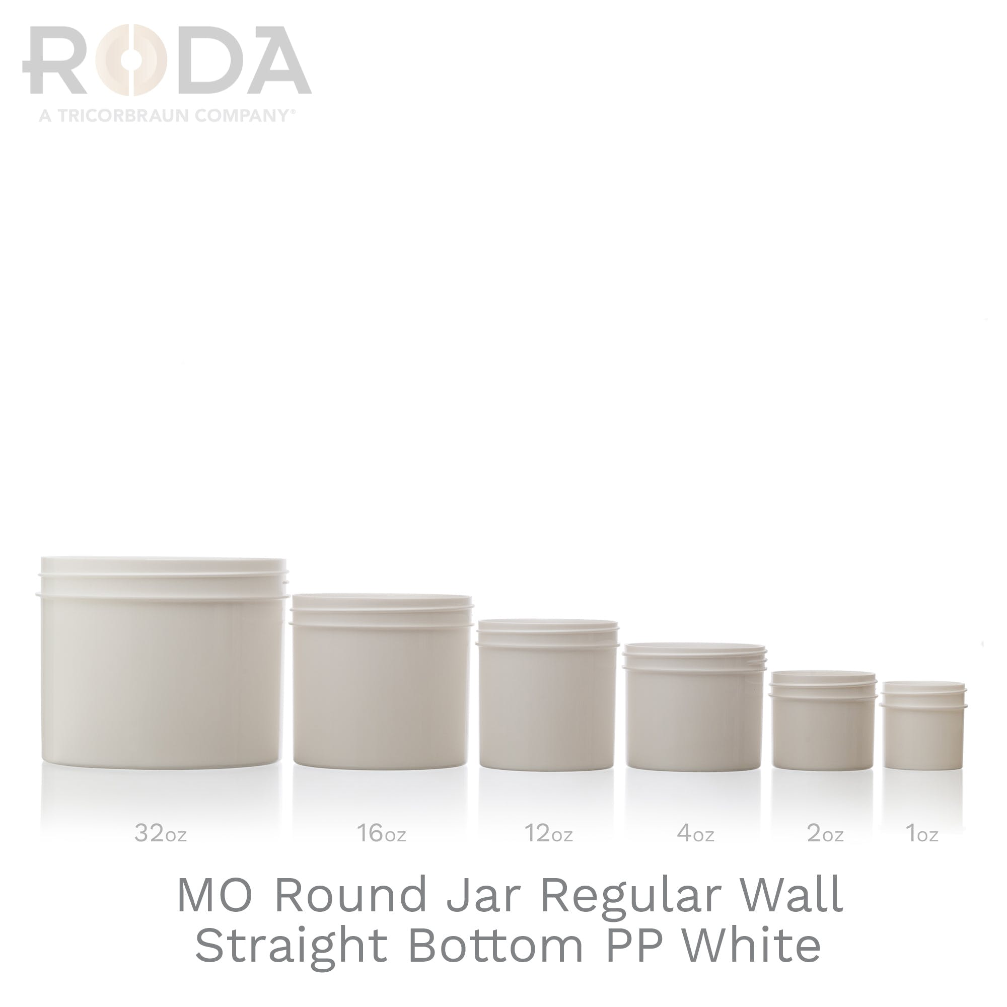 MO Round Jar Regular Wall Straight Bottom PP White