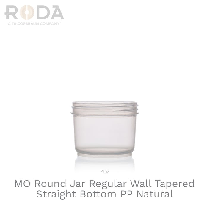 MO Round Jar Regular Wall Tapered Straight Bottom PP Natural