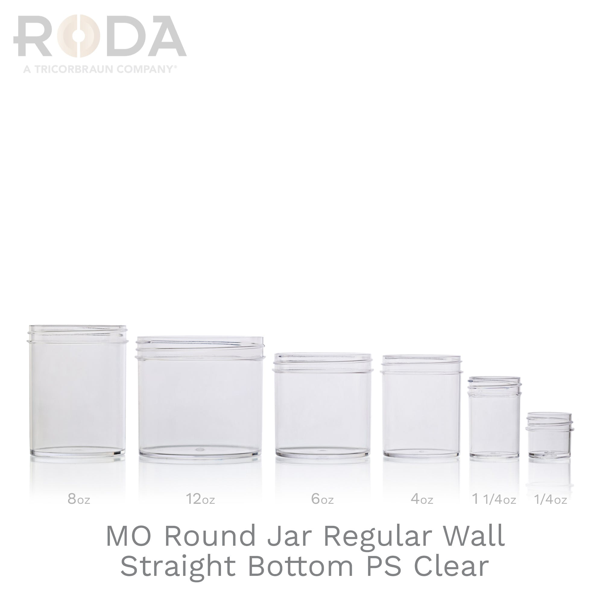 MO Round Jar Regular Wall Straight Bottom PS Clear
