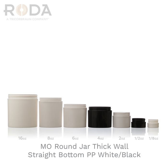 MO Round Jar Thick Wall Straight Bottom PP White/Black