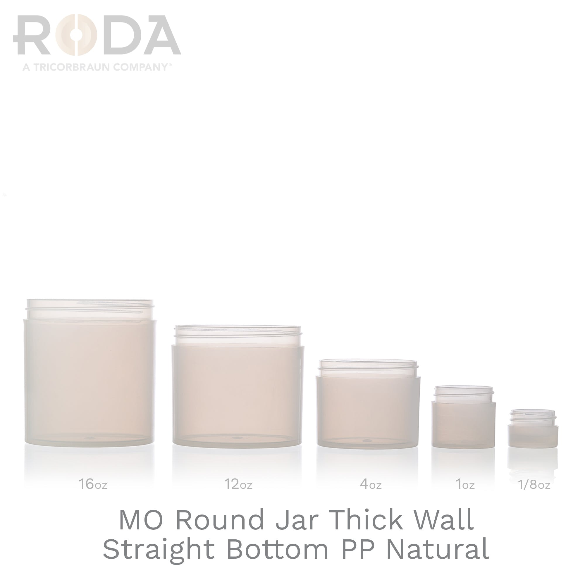 MO Round Jar Thick Wall Straight Bottom PP Natural