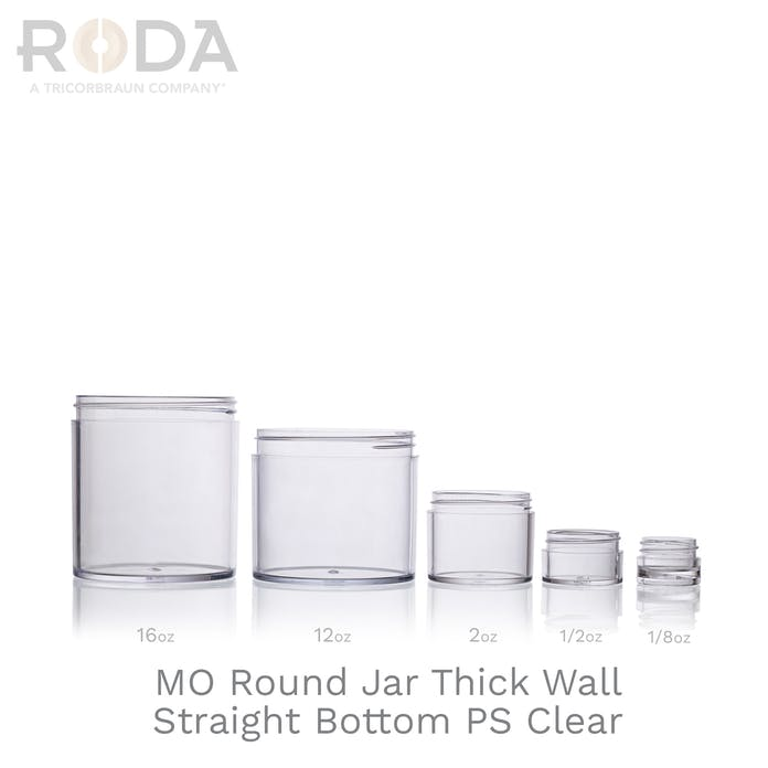 MO Round Jar Thick Wall Straight Bottom PS Clear