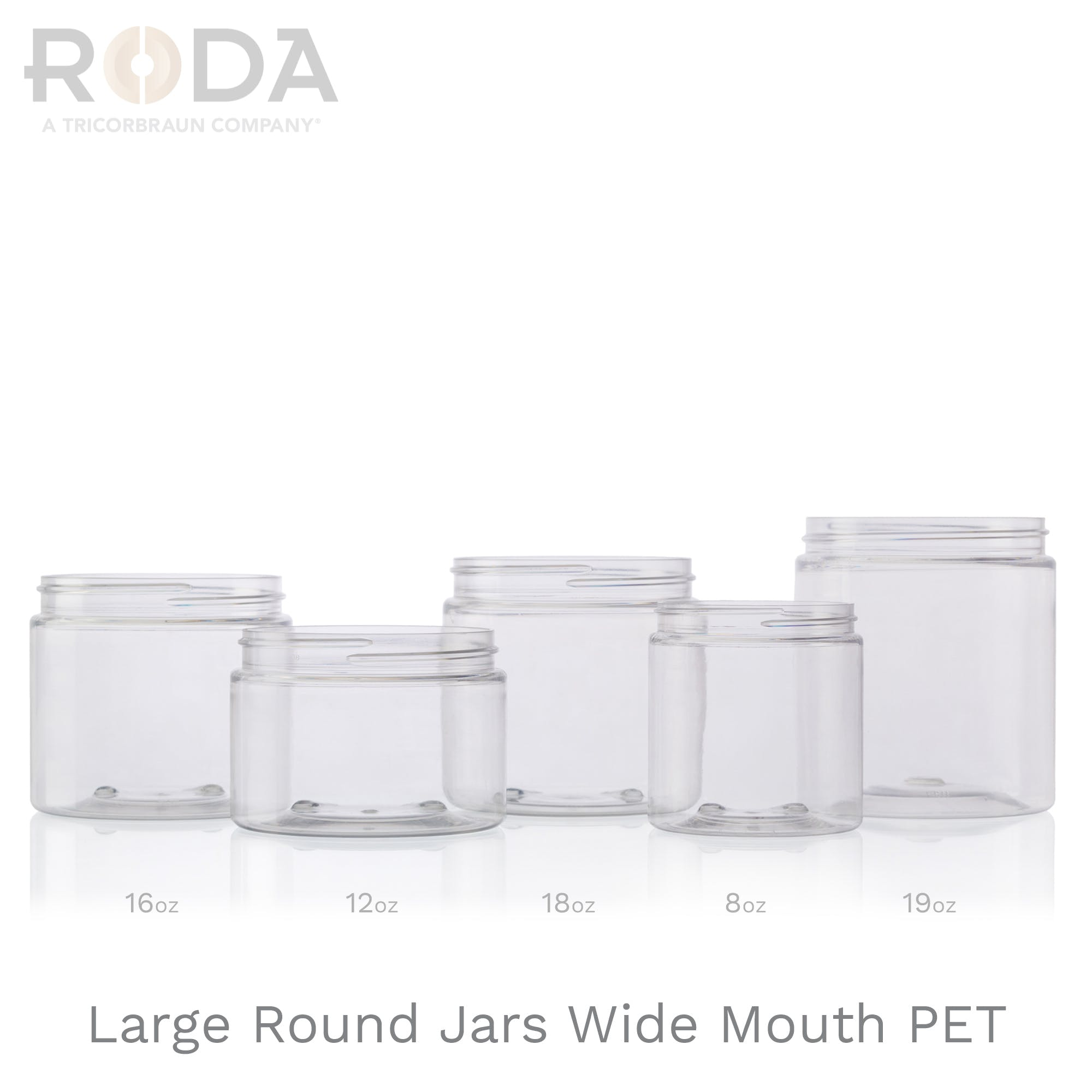 Large Round Jars Wide Mouth PET