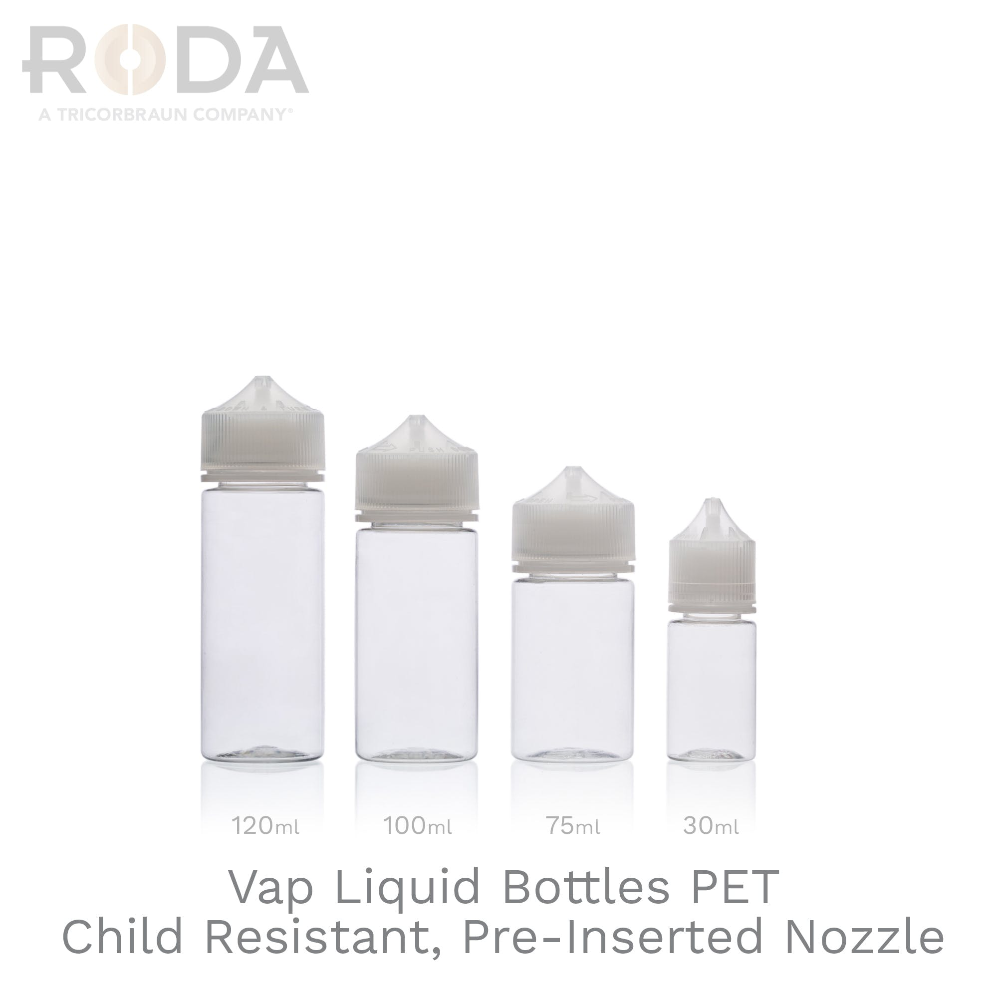 Vap Liquid Bottles PET Child Resistant, Pre-Inserted Nozzle