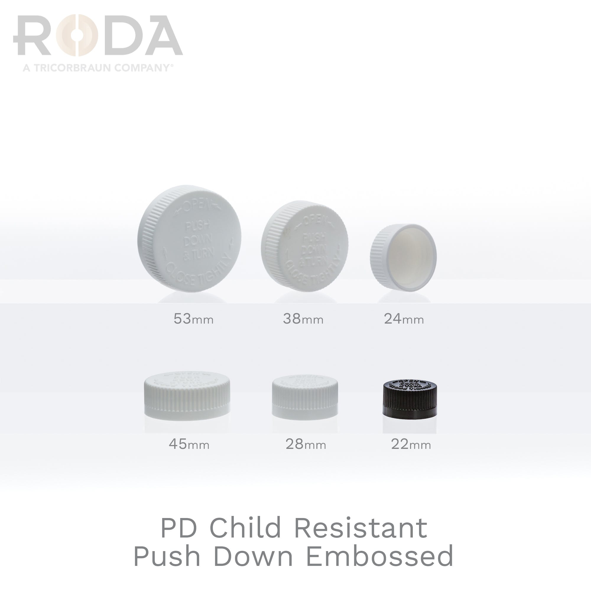 PD Child Resistant Push Down Embossed