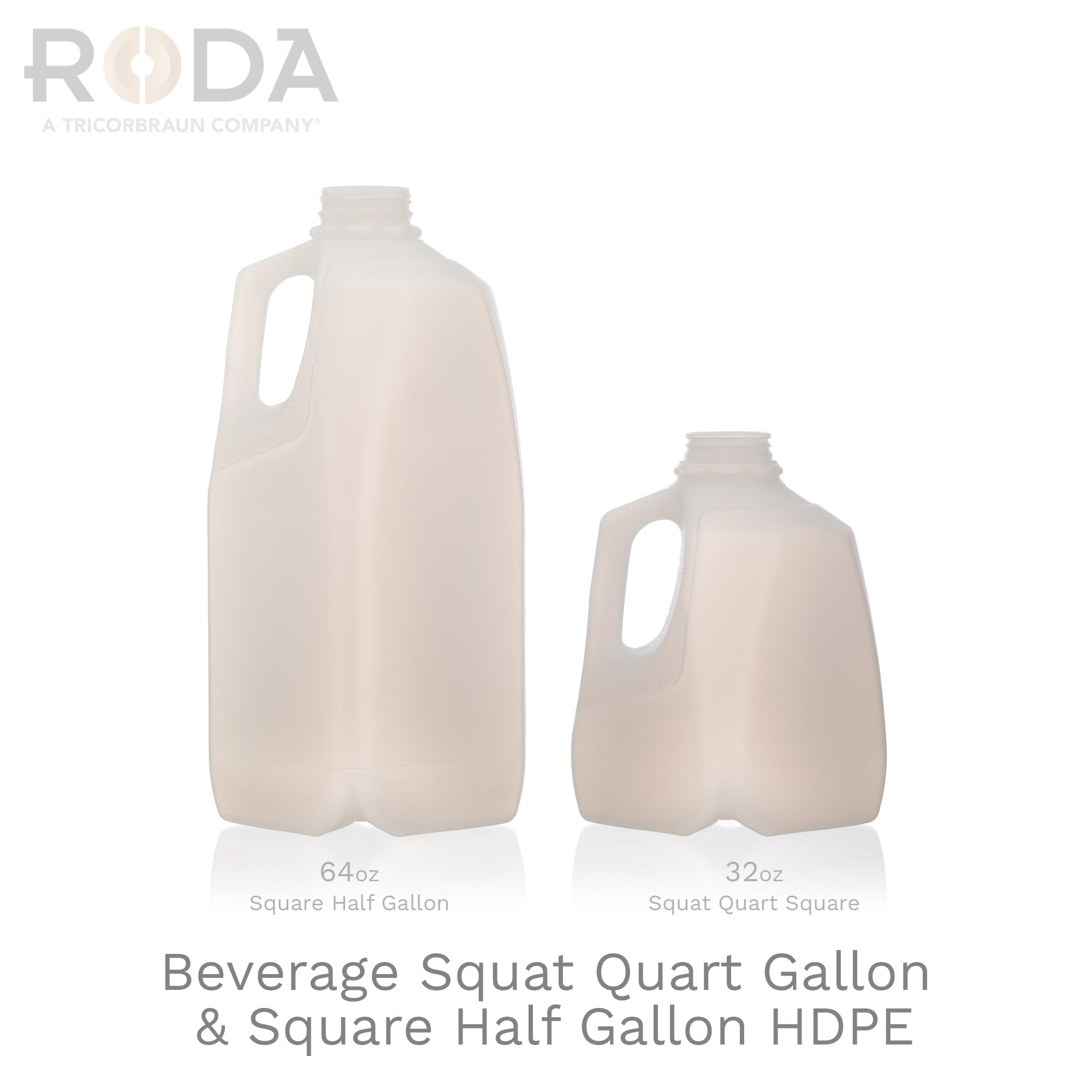 Beverage Squat Quart Gallon & Square Half Gallon HDPE