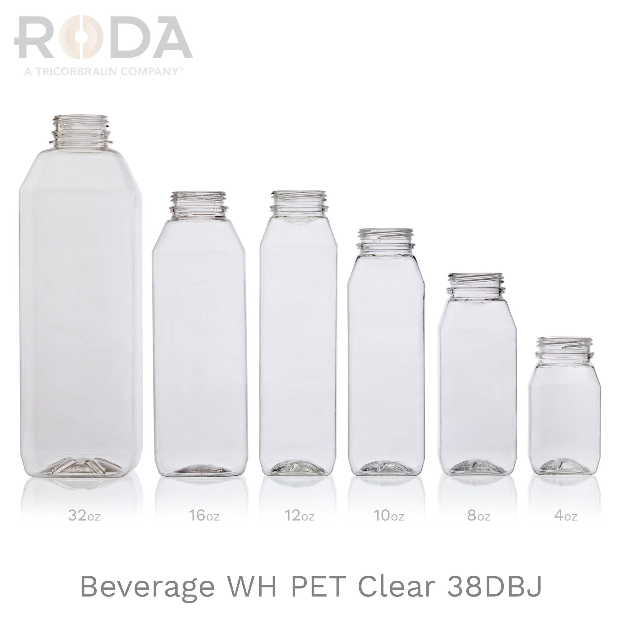 Beverage WH Square PET Clear 38DBJ